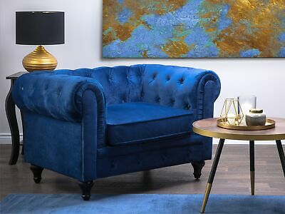 Classic English Icon Velvet Armchair Button Tufted Navy Blue Chesterfield