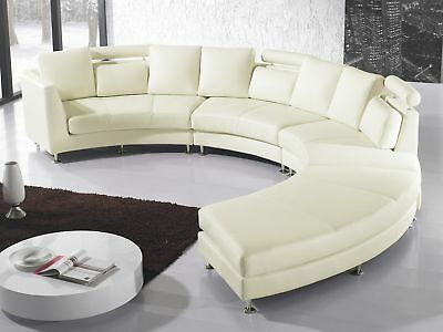 Modern Curved Sectional Sofa with Chaise and Headrests Off-Whtite Leather Rotund
