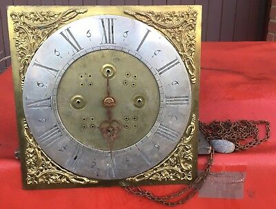 "Antiique Brass 11"" Square Dial 30 Hour clock Works Movement House Clearance"