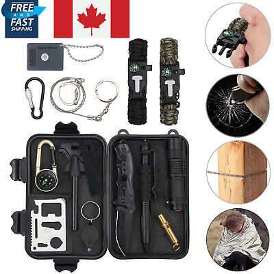 Outdoor Hiking Camping First Aid Survival Tool 16 in 1 Rescue Gear Emergency Kit