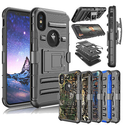 For iPhone 11 /XR/Xs Max  Heavy Duty Hard Cover Shockproof Belt Clip w/Kickstand