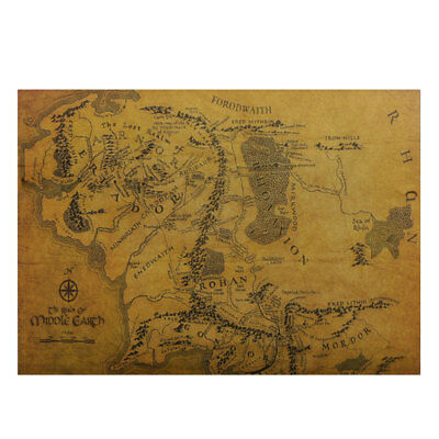 Vintage Middle Earth Map On The Lord of The Rings Wall Sticker Poster Home Decor