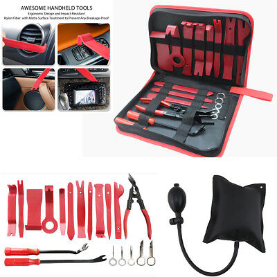 20PC Auto Upholstery Fastener Trim Panel Removal Tools Set w/ Inflatable Cushion