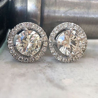 2 Ct D/VVS1 Round Cut Diamond Halo Stud Earring In Solid 14k White Gold Over