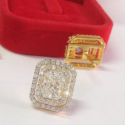 3 Ct Emerald Cut Diamond Double Halo Stud Earring Solid 14k Yellow Gold Over
