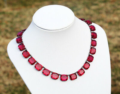 Vintage Art Deco Era Magenta Glass and Sterling Silver Riviere Necklace