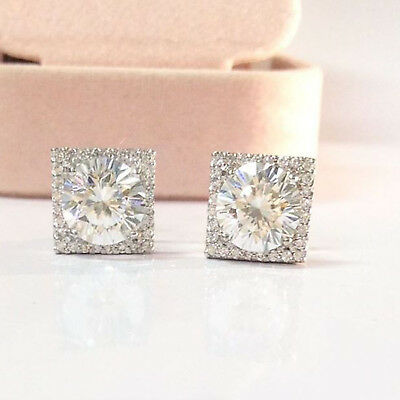 2.20 Ct Round Cut Diamond Halo Stud Earring In 14k Solid White Gold Over