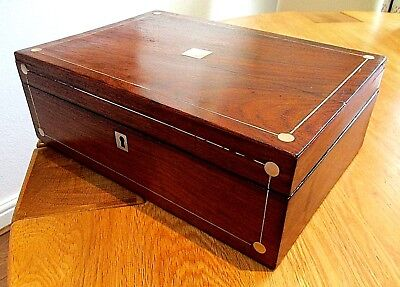 Victorian Mahogany Veneer Sewing/jewellery Box,m.o.p.lovely Red Lined Interior.
