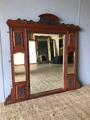 Large Huge Ornate Antique Victorian Mantle Wall Mirror Hand Carved Wooden Frame