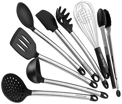Kitchen Utensil set - 8 Piece Cooking Utensils for nonstick cookware -Made Of Si