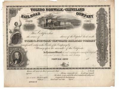 18?? Toledo Norwalk and Cleveland Railroad Co.  Shares Certificate.     TF-296