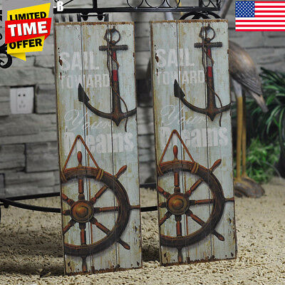 Nautical Decor Rustic Wood Sign Plaque Wall Home Shop Art Picture Anchor Design