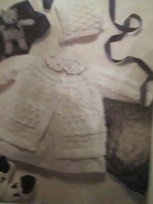 Knitting Pattern Lovely Babys Matinee Coat & Bonnet Size 14-20  4 Ply