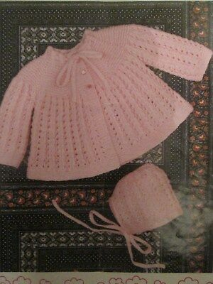 Knitting Pattern Lovely Babys Matinee Coat & Bonnet Size 18-20 3 & 4 Ply