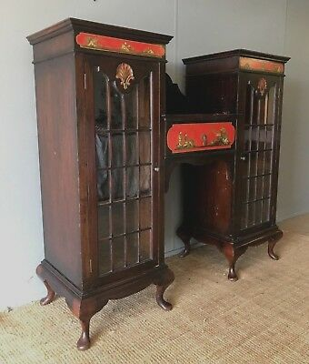 Vintage Antique Oriental Chinoiserie Chinese Lacquer Display Cabinet Bookcase
