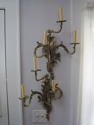 Matched Pair Antique French Cast Bronze 3 Arm Electrified Sconces Rewired c1880