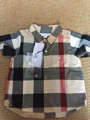 100% Authentic Burberry Boys Short Sleeves Cotton Shirt - 12 Months - NEW