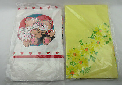 New Vintage Paper Tablecloth Yellow Daisy Daisies + Teddy Bears Hearts Valentine