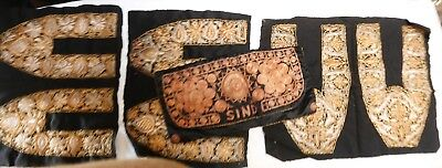 Antique/Vintage Gold thread embroidery: 3 panels and a bag.
