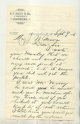 1886 B F Haley & Co Clothiers Newmarket Nh Letterhead & Cover