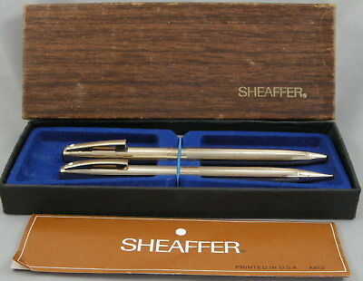Sheaffer Imperial Gold Plated Ballpoint & Pencil Set In Box - c. 1970's