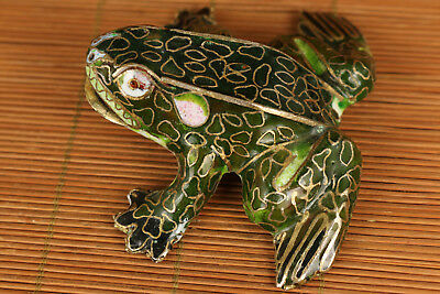 enamel Cloisonne hand Painting green frog statue figure Noble gift decoration