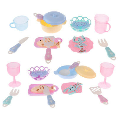 Simulated Mini Food Playset Plastic Tableware Set Toys For Melchan Baby Doll