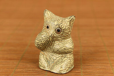 Mini chinese old cloisonne hand carved bear statue collectable ornament