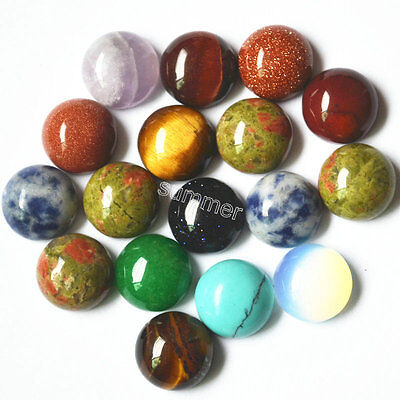 Wholesale 10pcs natural gemstone mixed round CAB CABOCHON stone beads 10x10mm