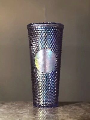 Starbucks 2018 Holiday Iridescent Glitter Traveler Tumbler Cold Cup 24 oz NEW