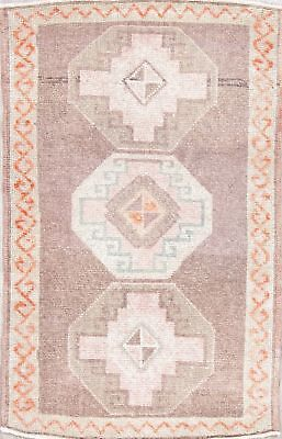 Semi Antique Dazzling Oushak Turkish Oriental Hand-Knotted 2x3 Wool Small Rug