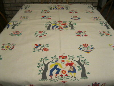 Vintage Wilendur Tablecloth,  Country Life. Farm Couples, Apple Trees - Cute!