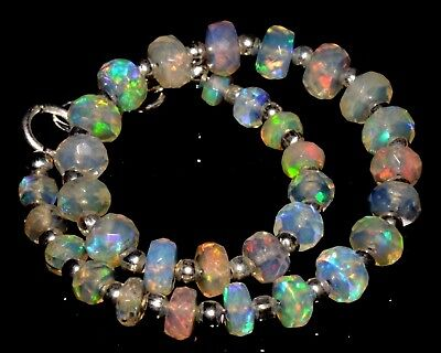 "O-0879 Ethiopian Fire Opal Gemstone Rondelle Faceted 18Ct 3-5mm 7"" Bracelet $"