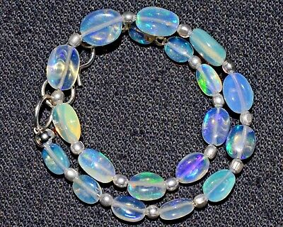 "O-1083 Natural Gemstone Ethiopian Opal Oval Beads 12Ct 3x5-6x8mm 7"" Bracelet $"