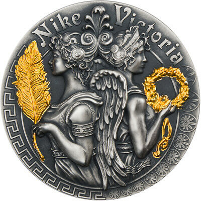 2 Ounce Silver Antique Strong a Beautiful Goddesses Victoria & Nike 5$ Niue 2018