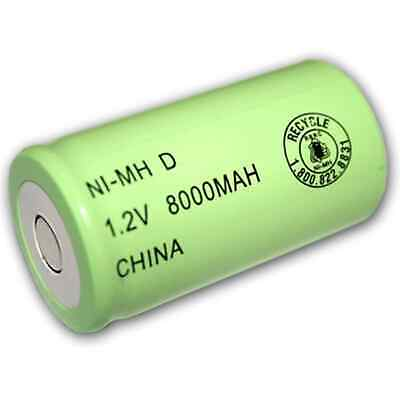 Exell 1.2V 8000mAh NiMH D Rechargeable Battery Flat Top Cell FAST USA SHIP