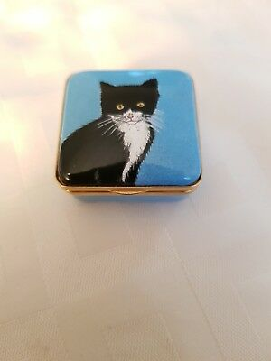 Halcyon Days Cat Enamel Pill Box After A Painting By Chrissy Wilson