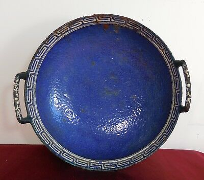 Antique Asian CHINESE Cast Iron Blue ENAMEL Hand Made Vintage Dish Bowl