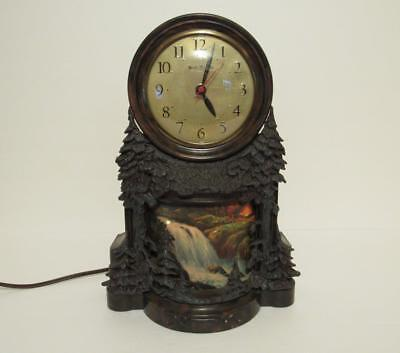 Vintage Mastercrafters Clock Animated Motion Waterfall Electric Lighted Working