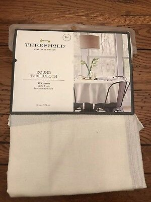 Exploded Plaid White & Silver Metallic Tablecloth Christmas/Holiday Round 70""
