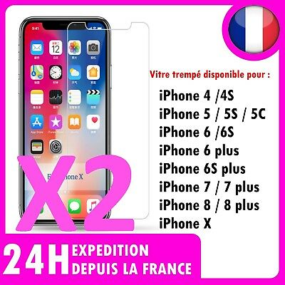 Lot 2 Vitre protection VERRE trempé protecteur  iPhone 8 7 6 6S PLUS X 5 4