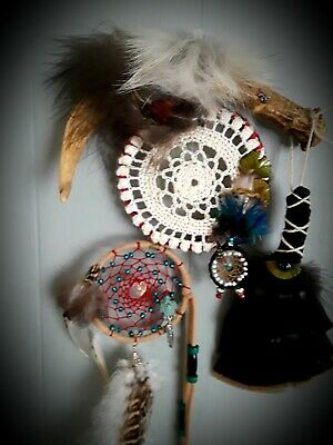 Authentic Dream Catcher Wall Art with Prayer Feather and Swarovski Crystals  COA