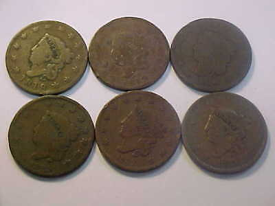 1818 1819 1824 1825 1832 1834  Six Coronet Head Large Cent Nice 6 Coin Lot