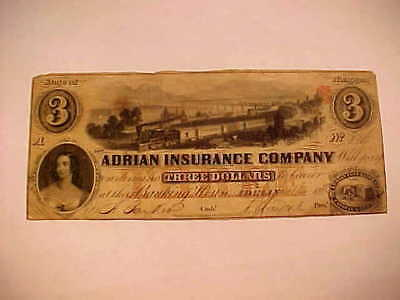 """$3 """"Adrian Insurance Company of Michagan""""  obsolete  bank note  MD"""