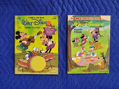 Lot VTG 80s Disney Coloring Books Mickey Minnie Donald Duck Friends Movie Toon