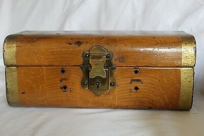 Vintage Metal Deed Box - Modelled as Wooden Trunk - With Key - Fully Working