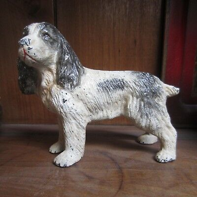 vintage or antique cast iron spaniel dog bank good expression and paint