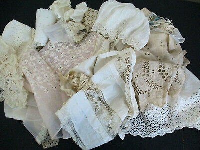 Nice Lot Vintage Salvaged Fancy Fabrics  Lace For Antique Dolls Clothes