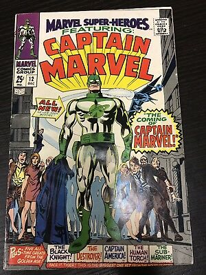 Captain Marvel Lot 1-4 High Grade Marvel Super Heroes 12 Cool Silver Age Run