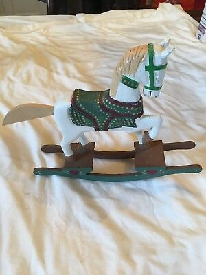 Hand Carved Painted Wooden Rocking Horse
